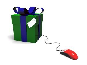Computer generated gift box with mouse. Online shopping concept. XL