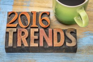 2016 trends banner - text in vintage letterpress wood type printing blocks with a cup od coffee
